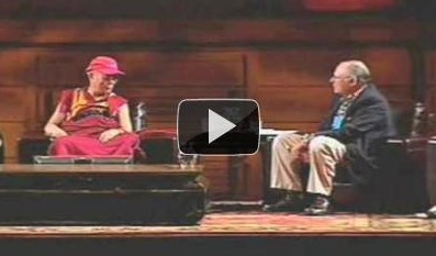 His Holiness the Dalai Lama on stage with Paul Ekman